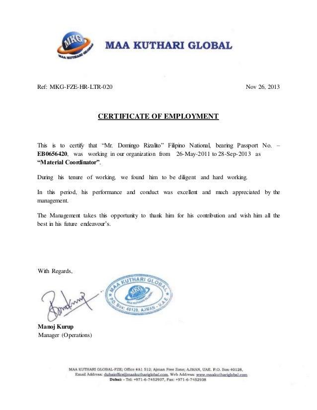10. Certificate of Employment (MKG)