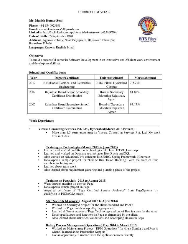 manish resume for company