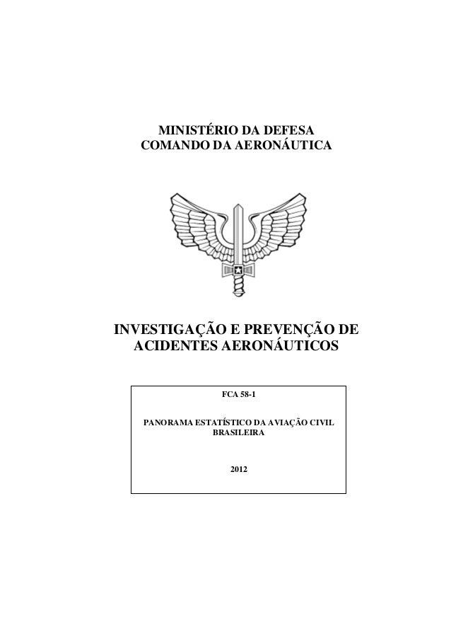 MINISTÉRIO DA DEFESA  COMANDO DA AERONÁUTICAINVESTIGAÇÃO E PREVENÇÃO DE  ACIDENTES AERONÁUTICOS                  FCA 58-1 ...