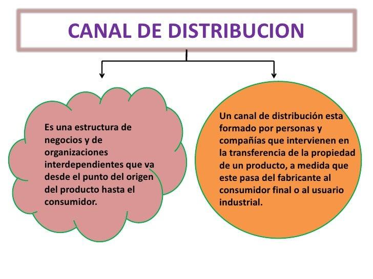 CANAL DE DISTRIBUCION<br />Un canal de distribución esta formado por personas y compañías que intervienen en la transferen...