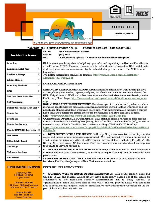 P.O. BOX 1216 BUNNELL FLORIDA 32110 PHONE 386-437-0095 FAX 386-437-6070 Reprinted with permission by the National Associat...