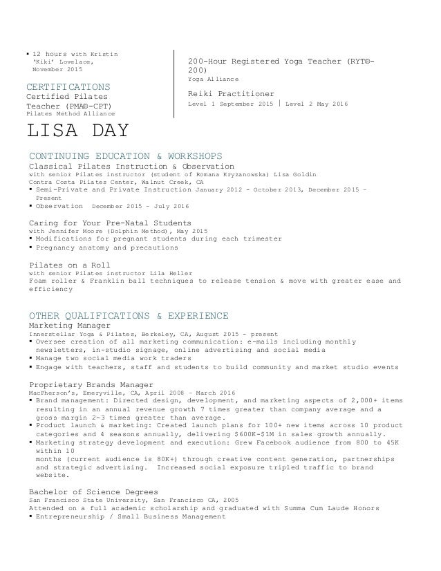 Lisa Day Pilates Resume