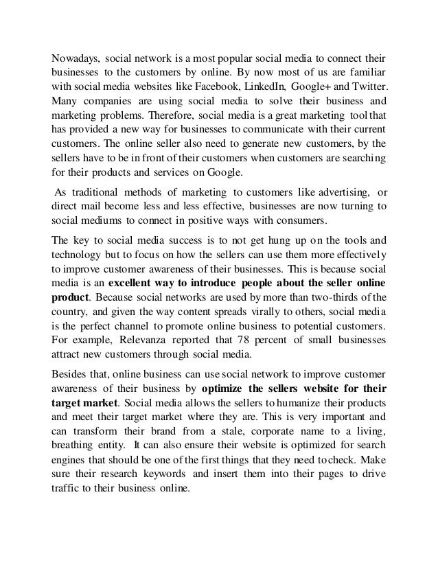 essay of how an online business can use social network to improve cus essay of how an online business can use social network to improve customer  awareness of their business and how social network can help businesses  gather
