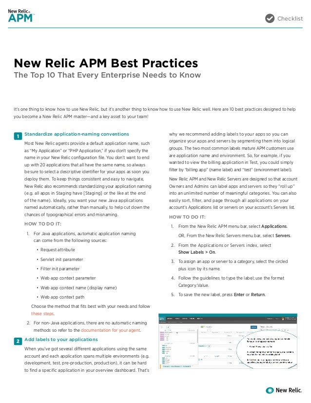 Checklist New Relic APM Best Practices The Top 10 That Every Enterprise Needs to Know 1 2 Standardize application-naming c...