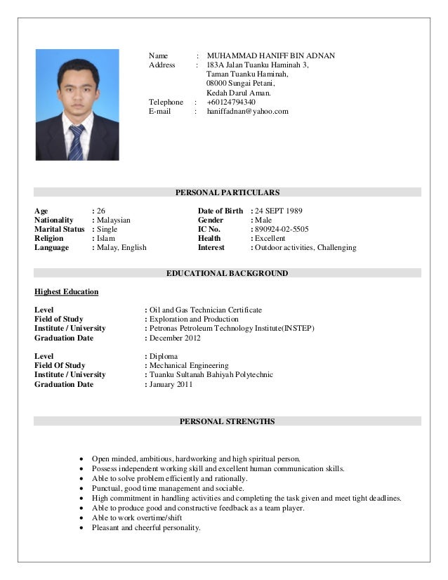 resume personal particulars age 26 date of birth 24 sept 1989 nationality malaysian gender - Resume Nationality