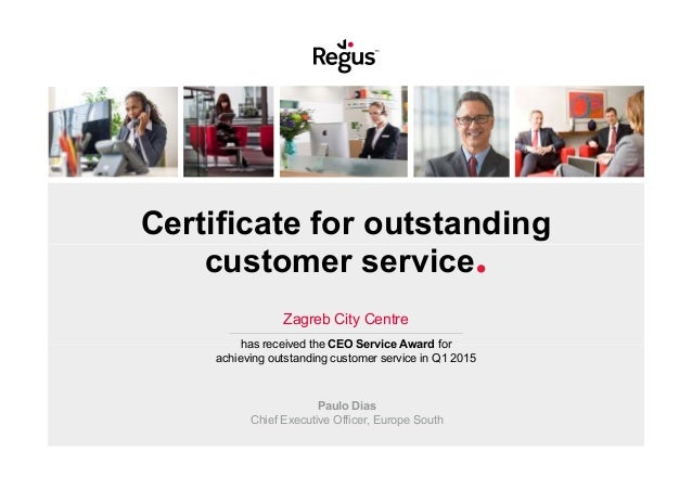 Certificate for outstanding customer service. Zagreb City Centre has received the CEO Service Award for achieving outstand...