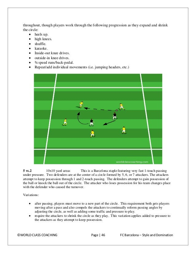 • • •  run two circles and have the defenders cross over to work in the other circle. The attackers count their passes and...