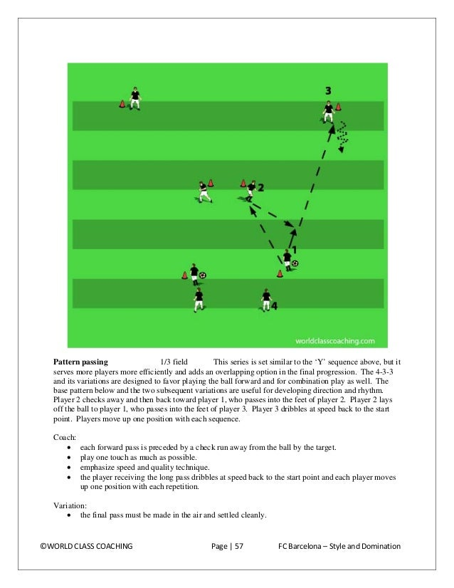 Progression: • add a 1-2 after the long pass (as diagrammed above).  ©WORLD CLASS COACHING  Page   58  FC Barcelona – Styl...