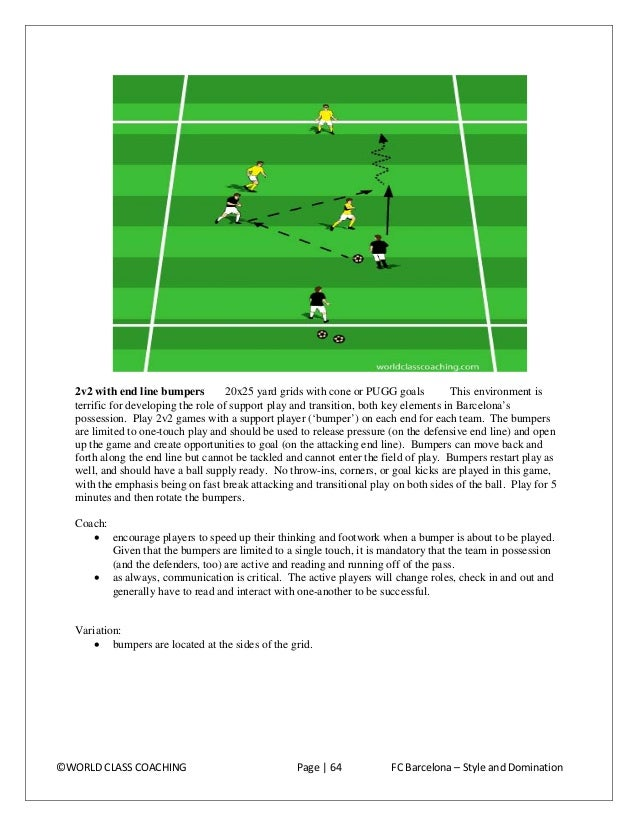 Transition strike (2) 12X15 yard grids Barcelona are clinical about pushing extra players into the attack. This setting, a...