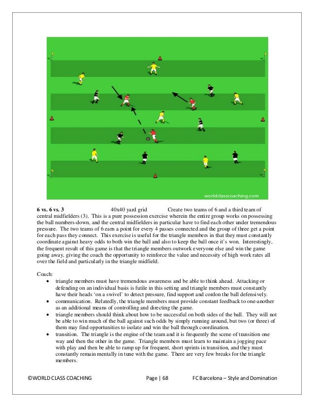 •  movement off of the ball. The triangle members must learn to read that when one of their teammates wins the ball and is...