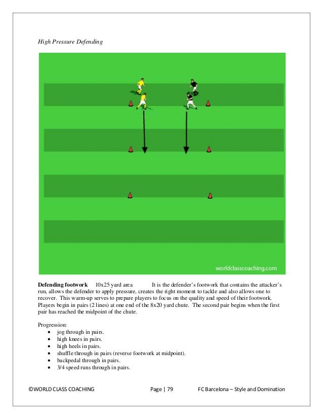 Progression:  Player 1 gets in a defending position in front of player 2 (no ball). Player 2 jogs forward, changing speed ...