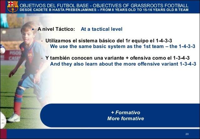 !20 ▪ A nivel Táctico: At a tactical level - Utilizamos el sistema básico del 1r equipo el 1-4-3-3 We use the same basic s...