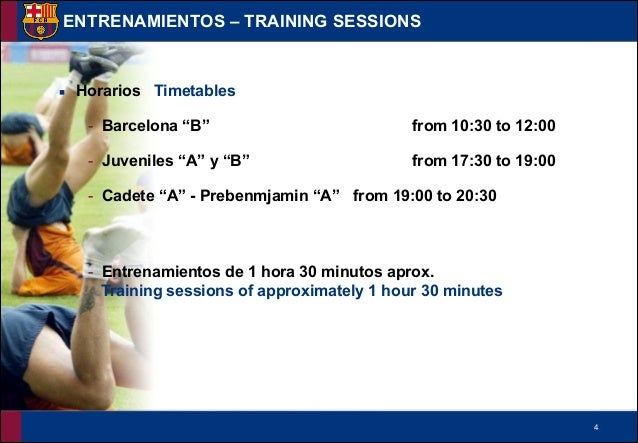 """!4 ▪ Horarios Timetables - Barcelona """"B"""" from 10:30 to 12:00 - Juveniles """"A"""" y """"B"""" from 17:30 to 19:00 - Cadete """"A"""" - Preb..."""