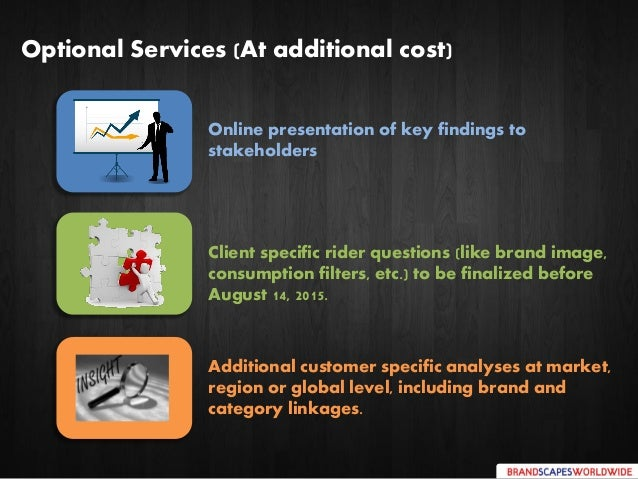 Client specific rider questions (like brand image, consumption filters, etc.) to be finalized before August 14, 2015. Opti...