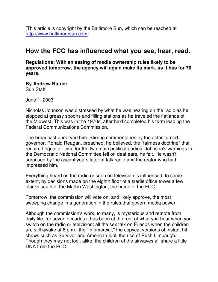 [This article is copyright by the Baltimore Sun, which can be reached at http://www.baltimoresun.com] <br /> How the FCC ...