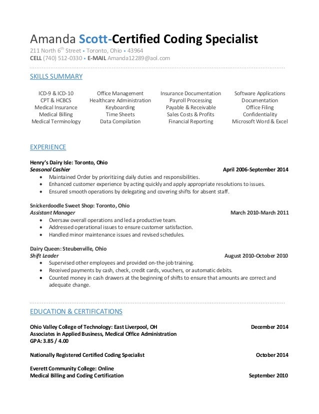 Amanda Scott Coder Resume