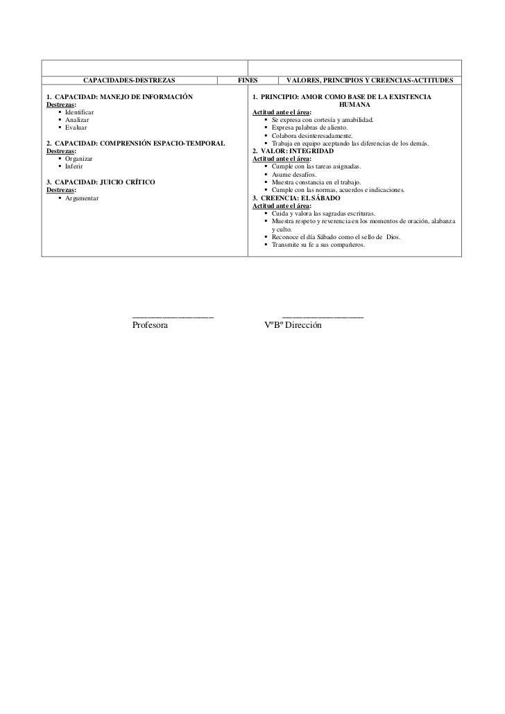 CAPACIDADES-DESTREZAS               FINES          VALORES, PRINCIPIOS Y CREENCIAS-ACTITUDES1. CAPACIDAD: MANEJO DE INFORM...