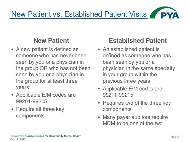 Prepared for Florida Council for Community Mental Health May 17, 2017 Page 17 New Patient vs. Established Patient Visits N...