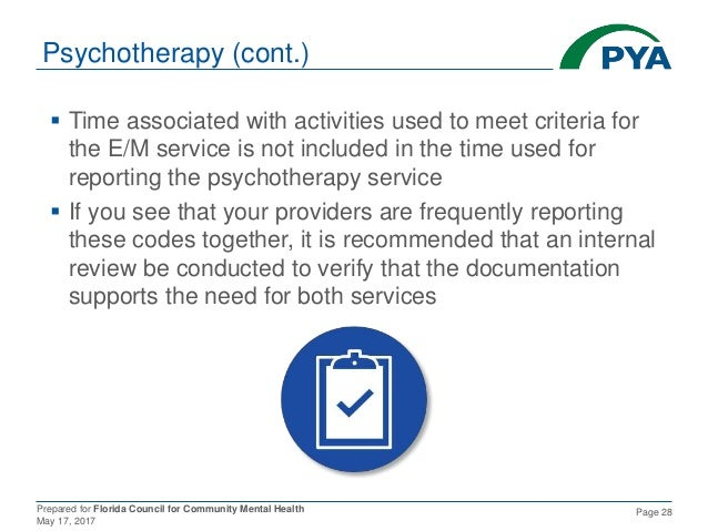 Prepared for Florida Council for Community Mental Health May 17, 2017 Page 28 Psychotherapy (cont.)  Time associated with...
