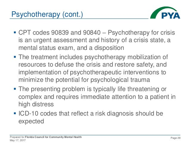 Prepared for Florida Council for Community Mental Health May 17, 2017 Page 29 Psychotherapy (cont.)  CPT codes 90839 and ...