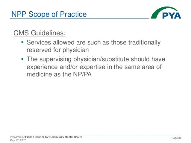 Prepared for Florida Council for Community Mental Health May 17, 2017 Page 36 NPP Scope of Practice CMS Guidelines:  Serv...