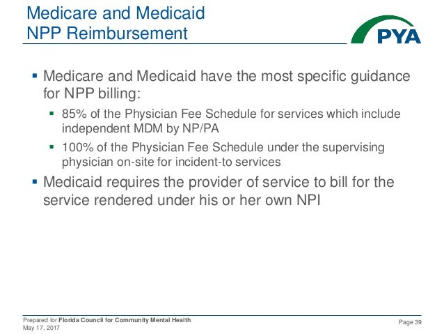 Prepared for Florida Council for Community Mental Health May 17, 2017 Page 39 Medicare and Medicaid NPP Reimbursement  Me...