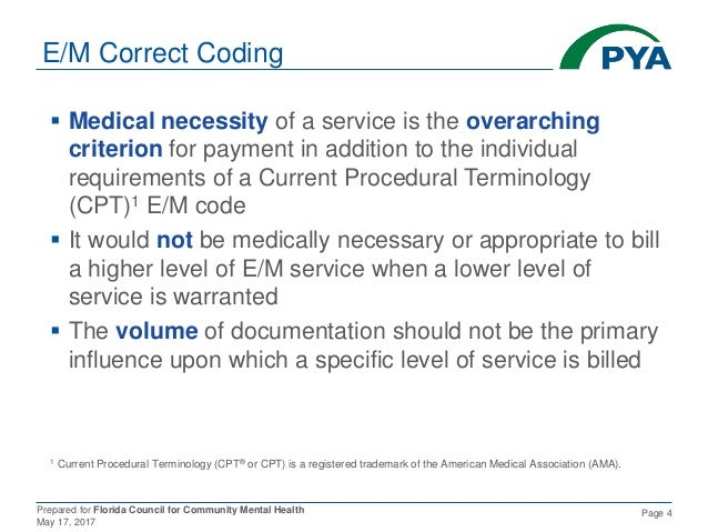 Prepared for Florida Council for Community Mental Health May 17, 2017 Page 4 E/M Correct Coding  Medical necessity of a s...
