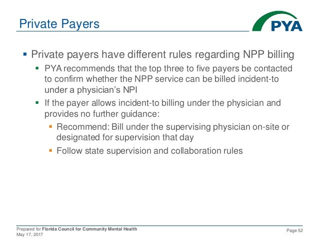 Prepared for Florida Council for Community Mental Health May 17, 2017 Page 52 Private Payers  Private payers have differe...