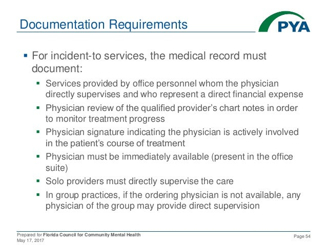 Prepared for Florida Council for Community Mental Health May 17, 2017 Page 54 Documentation Requirements  For incident-to...