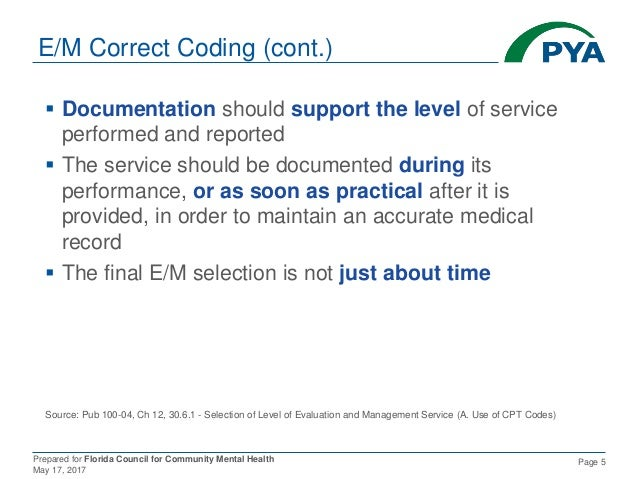 Prepared for Florida Council for Community Mental Health May 17, 2017 Page 5 E/M Correct Coding (cont.)  Documentation sh...
