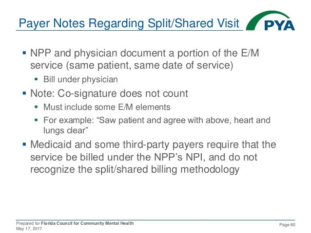 Prepared for Florida Council for Community Mental Health May 17, 2017 Page 60 Payer Notes Regarding Split/Shared Visit  N...