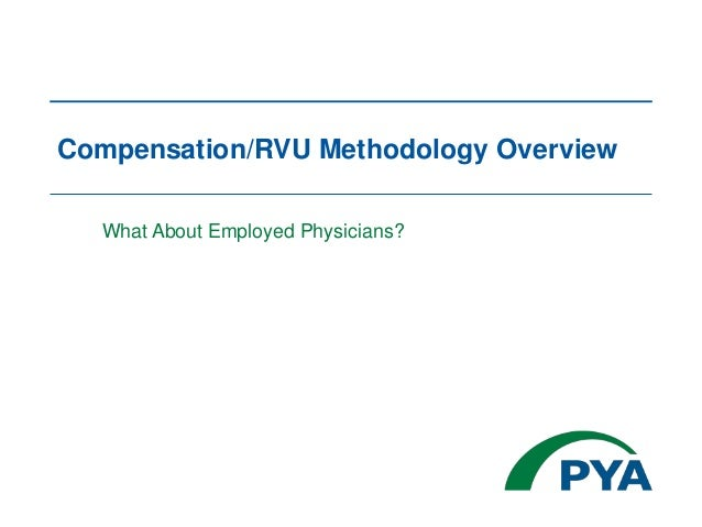 Compensation/RVU Methodology Overview What About Employed Physicians?