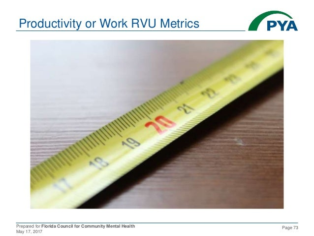 Prepared for Florida Council for Community Mental Health May 17, 2017 Page 73 Productivity or Work RVU Metrics