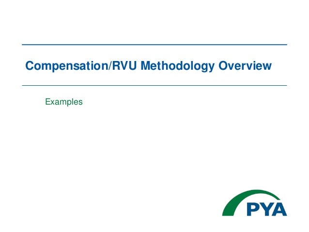 Compensation/RVU Methodology Overview Examples