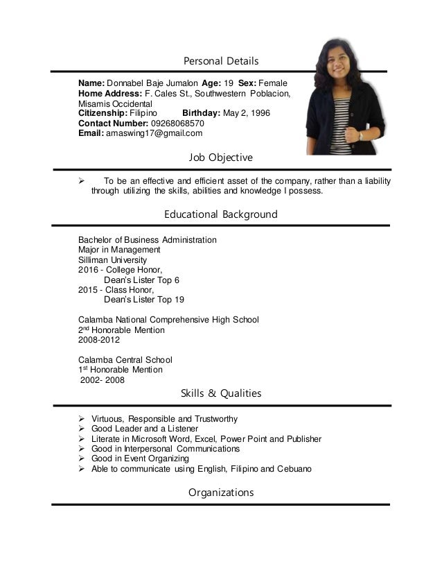 job fair resume personal details name donnabel baje jumalon age 19 sex female home address - Resume For A Job