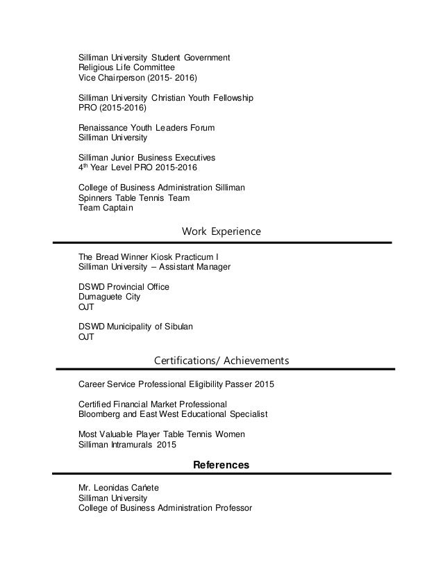 job fair resume