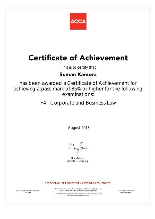 Achievement Certificate F4