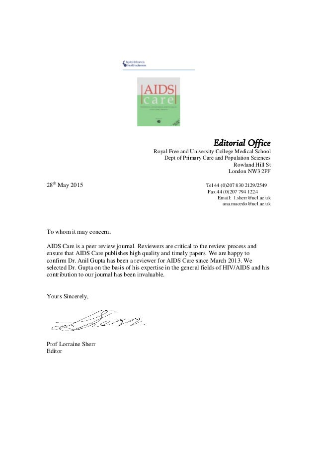 Aids care appreciation letter aids care appreciation letter editorial office royal free and university college medical school dept of primary care and population sciences spiritdancerdesigns Image collections