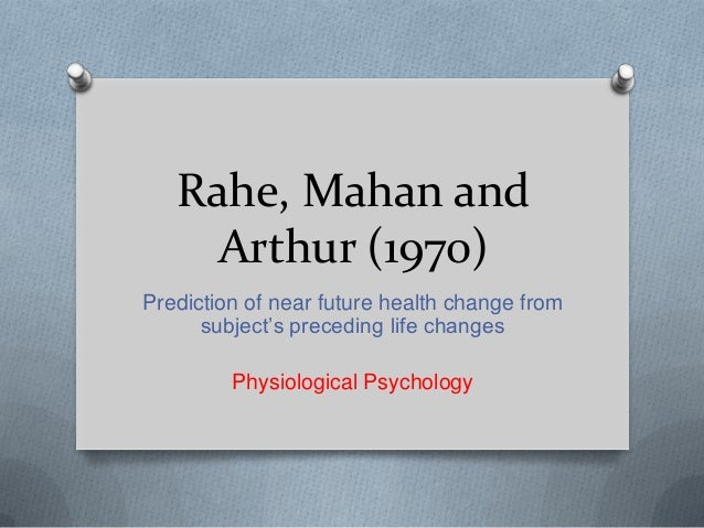 Rahe, Mahan and Arthur (1970) Prediction of near future health change from subject's preceding life changes Physiological ...