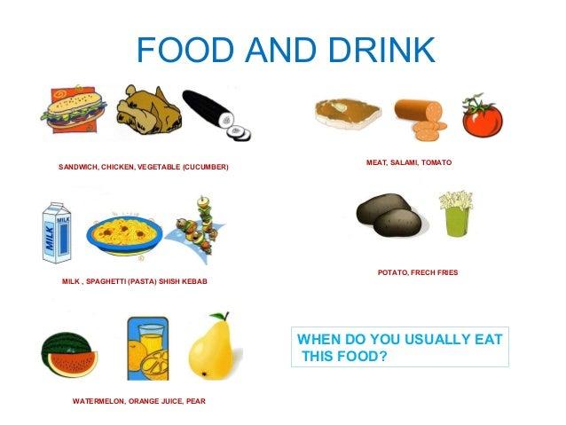 FOOD AND DRINK  SANDWICH, CHICKEN, VEGETABLE (CUCUMBER)  MILK , SPAGHETTI (PASTA) SHISH KEBAB  WATERMELON, ORANGE JUICE, P...