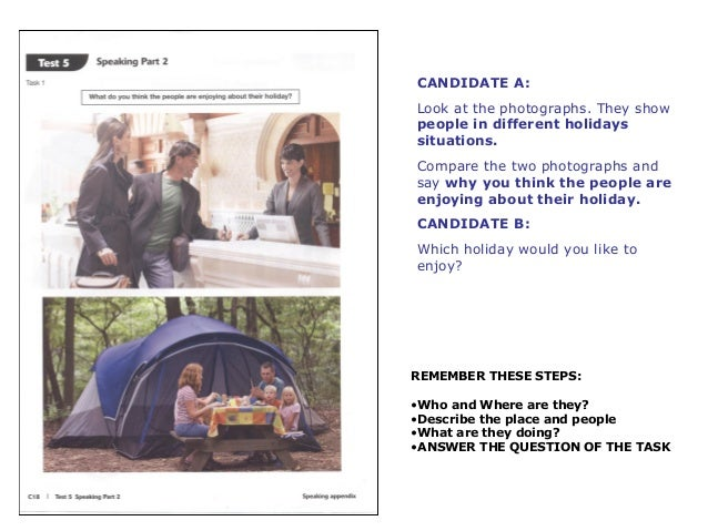 CANDIDATE A:  Look at the photographs. They show  people in different holidays  situations.  Compare the two photographs a...