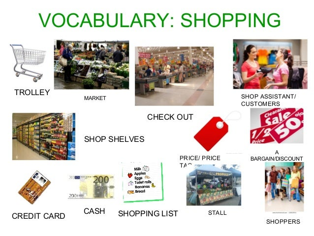 VOCABULARY: SHOPPING  CREDIT CARD CASH SHOPPING LIST  PRICE/ PRICE  TAG  TROLLEY  CHECK OUT  SHOP SHELVES  SHOP ASSISTANT/...