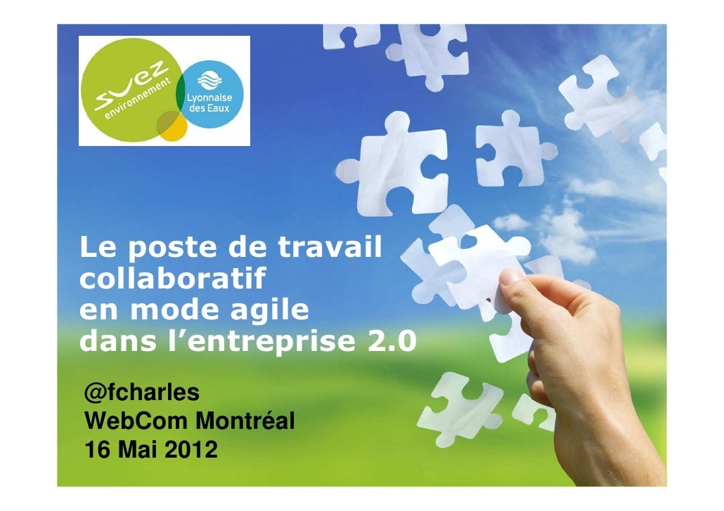 Le poste de travail collaboratif en mode agile dans l'entreprise 2.0  @fcharles  WebCom Montréal  16 Mai 201216/05/2012   ...