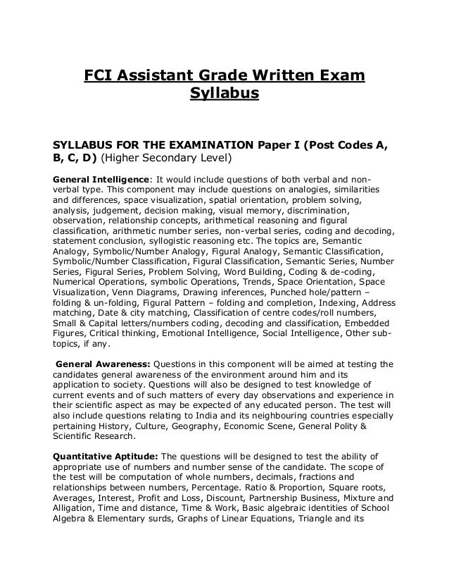 FCI Assistant Grade Written Exam                   SyllabusSYLLABUS FOR THE EXAMINATION Paper I (Post Codes A,B, C, D) (Hi...