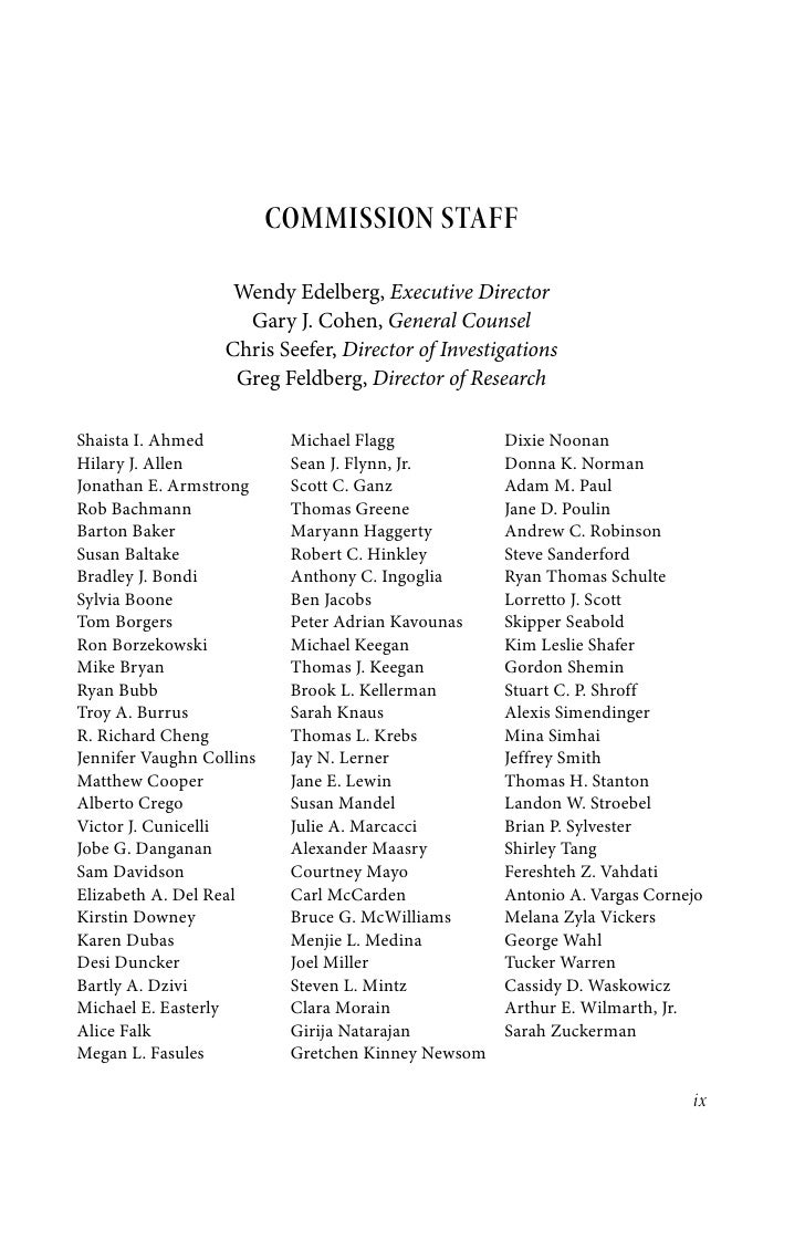 COMMISSION STAFF                    Wendy Edelberg,Executive Director                     Gary J. Cohen,General Counsel ...