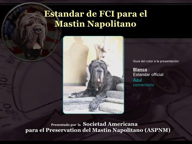Estandar de FCI para el         Mastin Napolitano                                         Guía del color a la presentación...