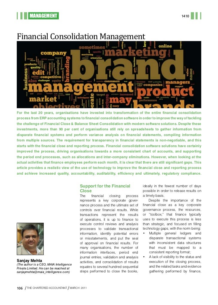 MANAGEMENTFinancial Consolidation Management                                                                              ...