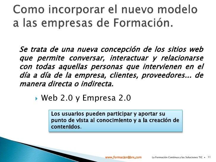 Aplicar el modelo Empresa 2.0 a las empresas de Formación:<br />