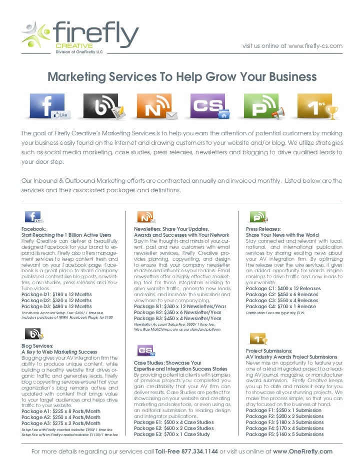 visit us online at www.firefly-cs.com               Marketing Services To Help Grow Your BusinessThe goal of Firefly Creat...