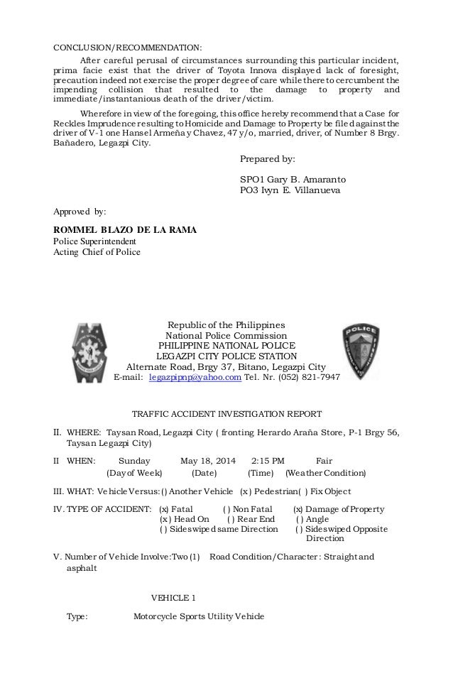 Investigation report – Sample Homicide Police Report